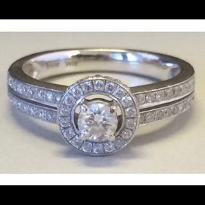 Jewelry - 14K White Gold DIAMOND HALO ENGAGEMENT Ring 79CTW